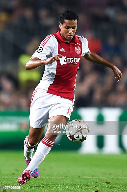 Jairo Riedewald of AFC Ajax runs with the ball during a UEFA Champions League Group F match between FC Barcelona and AFC Ajax at the Camp Nou Stadium...