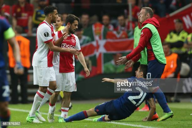Jairo Riedewald of Ajax Amin Younes of Ajax Ander Herrera of Manchester United Wayne Rooney of Manchester Unitedduring the UEFA Europa League final...