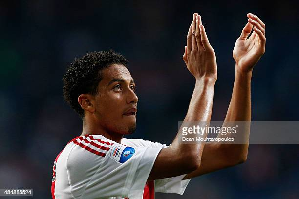 Jairo Riedewald of Ajax applaudes the fans after victory in the UEFA Europa League play off round 1st leg match between Ajax Amsterdam and FK Baumit...
