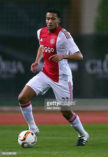 Jairo Riedewald of Ajax controles the ball during a friendly match between Hamburger SV and Ajax Amsterdam at Gloria Sports Center on January 9 2016...