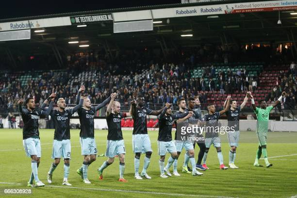Jairo Riedewald of Ajax Hakim Ziyech of Ajax Donny van de Beek of Ajax Davy Klaassen of Ajax Mateo Cassierra of Ajax Amin Younes of Ajax Joel Veltman...