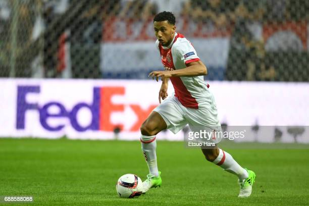 Jairo Riedewald of Ajax in action during the UEFA Europa League final match between Ajax and Manchester United at Friends Arena on May 24 2017 in...
