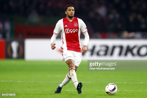 Jairo Riedewald of Ajax in action during the UEFA Europa League Round of 32 second leg match between Ajax Amsterdam and Legia Warszawa at Amsterdam...