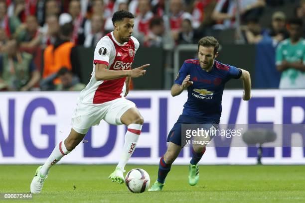 Jairo Riedewald of Ajax Juan Mata of Manchester Unitedduring the UEFA Europa League final match between Ajax Amsterdam and Manchester United at the...