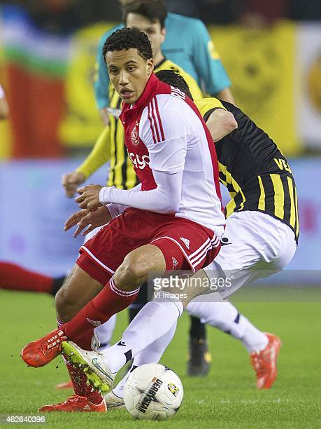 Jairo Riedewald of Ajax Marko Vejinovic of Vitesse during the Dutch Eredivisie match between Vitesse and Ajax at the Gelredome on february 1 2015 in...