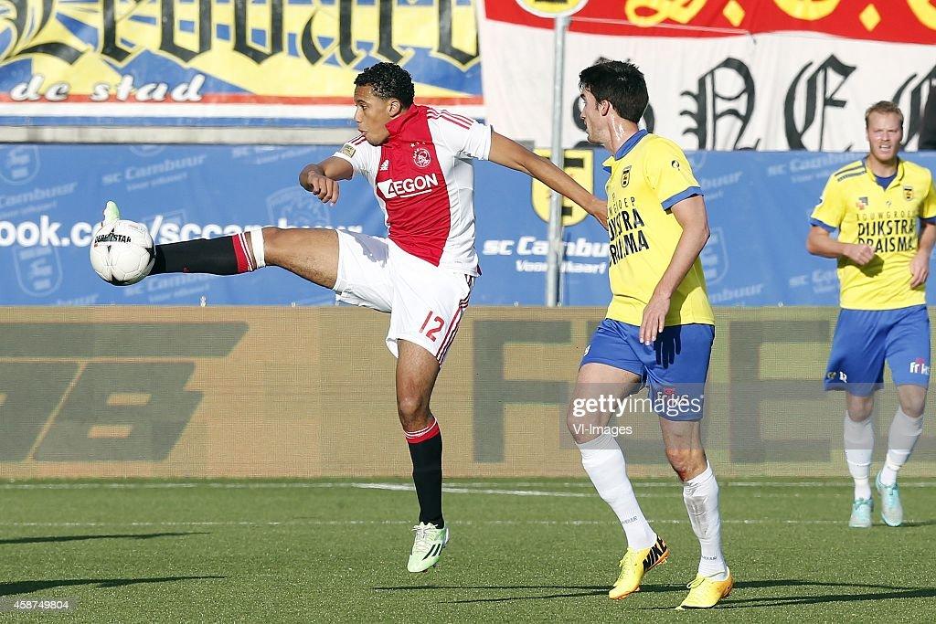 Jairo Riedewald of Ajax Martijn Barto of SC Cambuur during the Dutch Eredivisie match between SC Cambuur Leeuwarden and AJAX Amsterdam at the Cambuur...