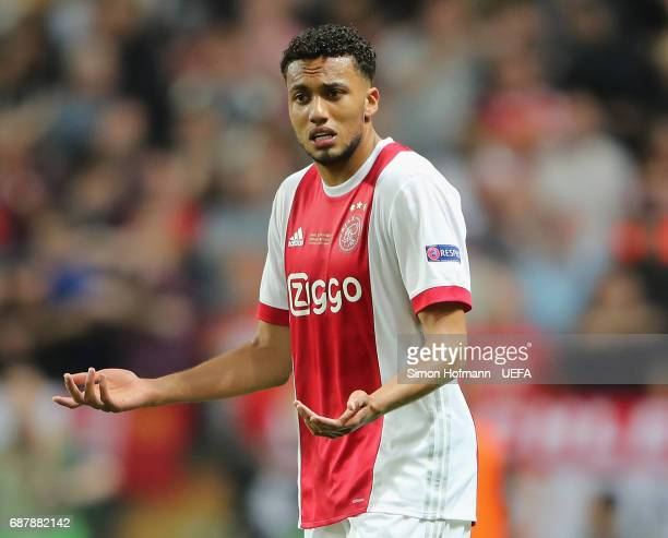 Jairo Riedewald of Ajax reacts during the UEFA Europa League Final between Ajax and Manchester United at Friends Arena on May 24 2017 in Stockholm...