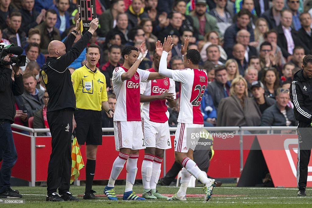 Jairo Riedewald of Ajax, Riechedly Bazoer of Ajax, Kenny Tete of Ajax during the Dutch Eredivisie match between Ajax Amsterdam and FC Twente at the Amsterdam Arena on May 01, 2016 in Amsterdam, The Netherlands