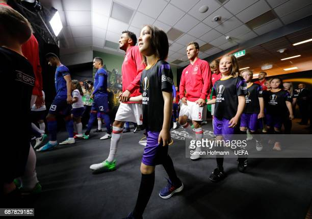Jairo Riedewald of Ajax walks out of the tunnel prior to the UEFA Europa League Final between Ajax and Manchester United at Friends Arena on May 24...