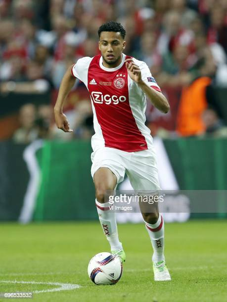 Jairo Riedewald of Ajaxduring the UEFA Europa League final match between Ajax Amsterdam and Manchester United at the Friends Arena on May 24 2017 in...