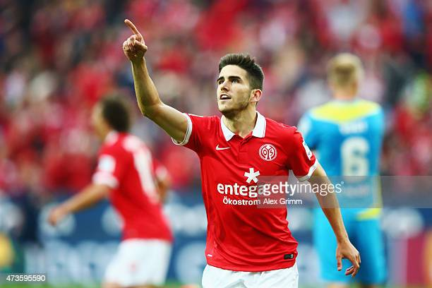 Jairo Samperio of Mainz celebrates his team's second goal during the Bundesliga match between 1 FSV Mainz 05 and 1 FC Koeln at Coface Arena on May 16...