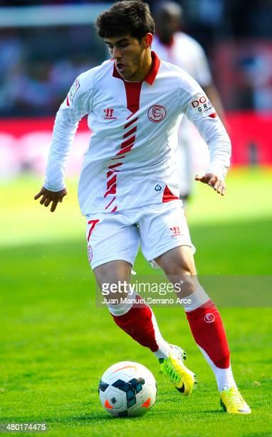 Jairo Samperio of Sevilla CF controls the ball during the La Liga match between CA Osasuna and Sevilla FC at Estadio Reyno de Navarra on March 23...