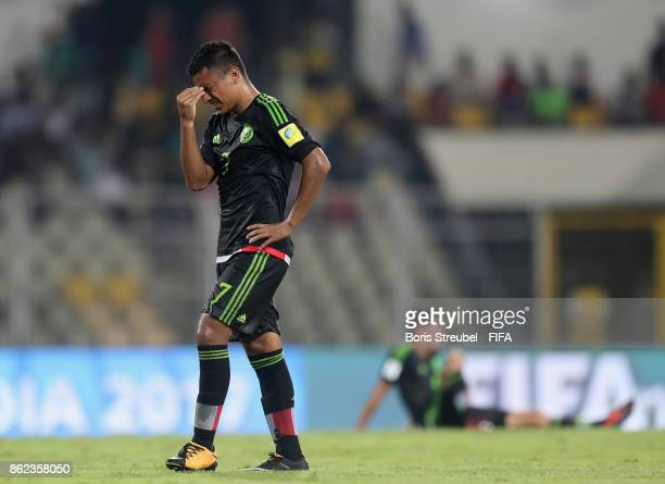 Jairo Torres of Mexico looks dejected after losing the FIFA U17 World Cup India 2017 Round of 16 match between Iran and Mexico at Pandit Jawaharlal...