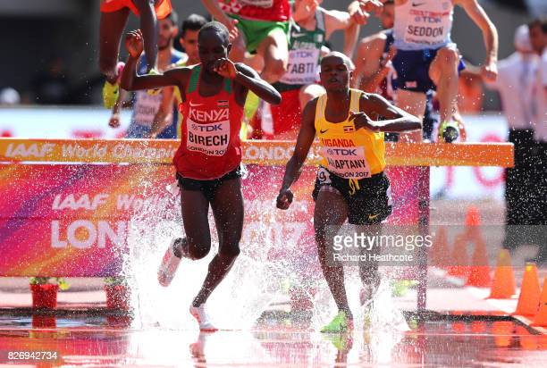 Jairus Kipchoge Birech of Kenya and Jacob Araptany of Uganda competes in the Men's 3000 metres Steeplechase heats during day three of the 16th IAAF...