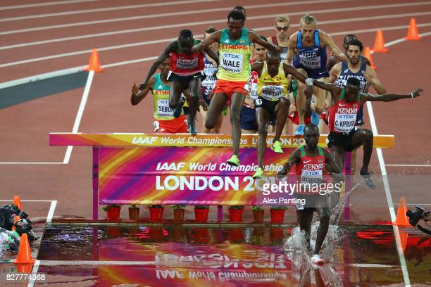 Jairus Kipchoge Birech of Kenya leads over the water jump during the Men's 3000 metres Steeplechase final during day five of the 16th IAAF World...