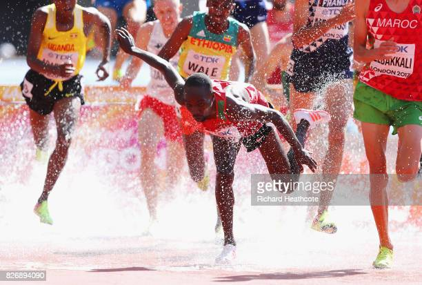 Jairus Kipchoge Birech of Kenya trips up as he competes in the Men's 3000 metres Steeplechase heats during day three of the 16th IAAF World Athletics...