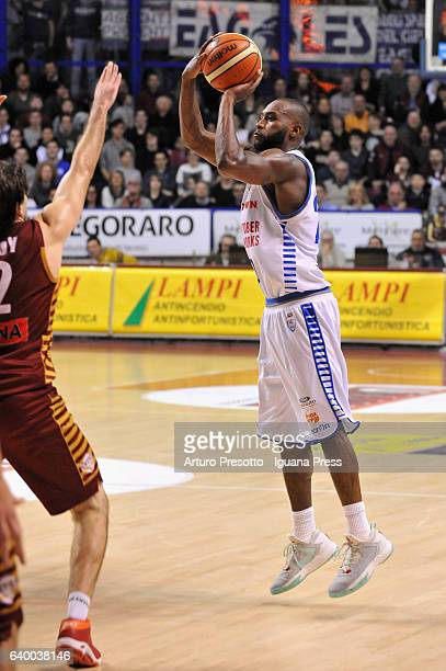 JaJuan Johnson of Red October competes with Ariel Filloy of Umana of Umana during the LegaBasket of Serie A1 match between Reyer Umana Venezia and...