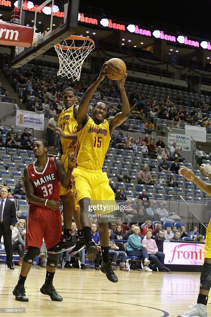 JaJuan Johnson of the Fort Wayne Mad Ants rebounds over Kris Joseph of the Maine Red Claws at Allen County Memorial Coliseum on November 25 2010 in...