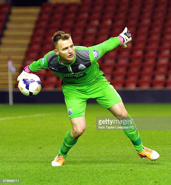 Jak Alnwick of Newcastle in action during the Barclays Premier League Under 21 fixture between Liverpool and Newcastle United at Anfield on March 21...