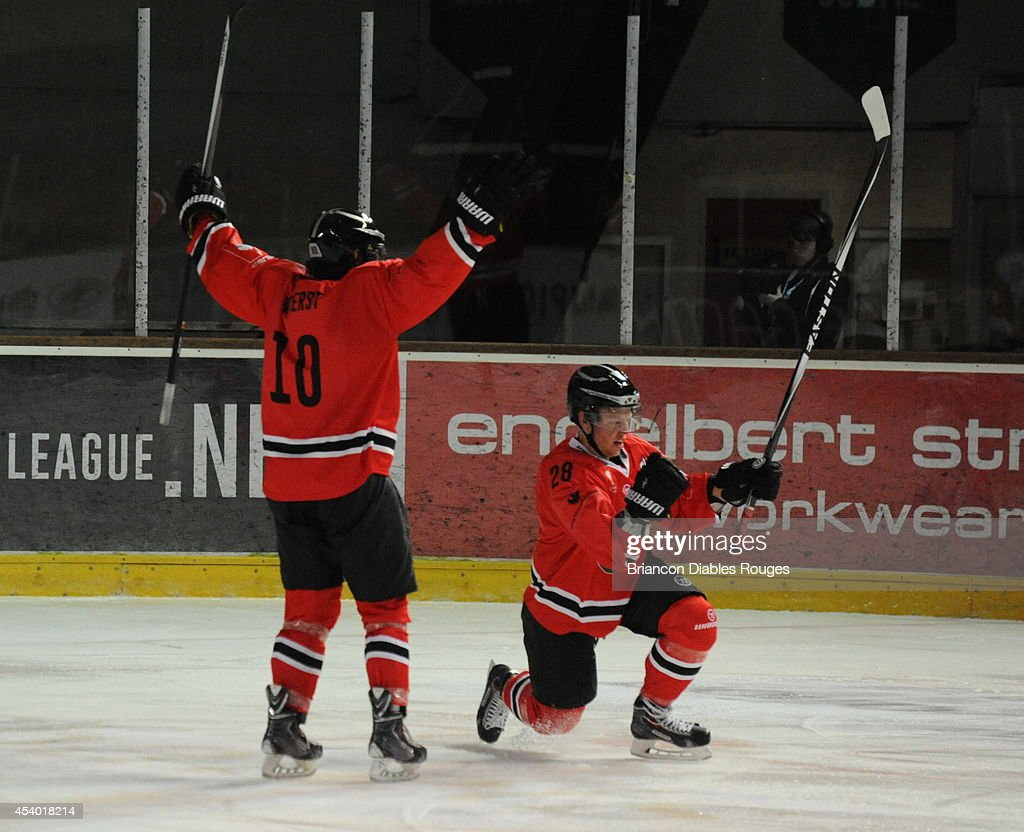 Jaka Ankerst and Damien Raux of Briancon Diables Rouges celebrate during the Champions Hockey League group stage game between Briancon Diables Rouges and Frolunda Gothenburg on August 23, 2014 in Briancon, France.