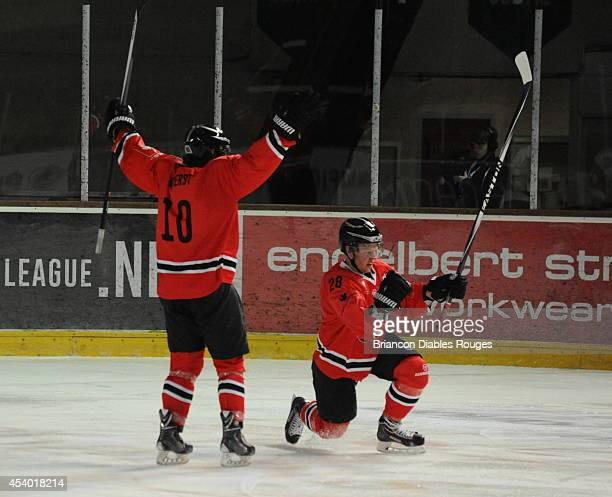 Jaka Ankerst and Damien Raux of Briancon Diables Rouges celebrate during the Champions Hockey League group stage game between Briancon Diables Rouges...