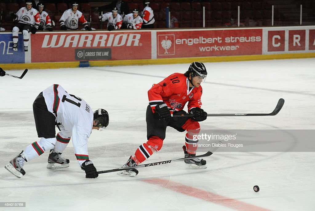 #19 Jaka Ankerst of Briancon Diables Rouges in action during the Champions Hockey League group stage game between Briancon Diables Rouges and Frolunda Gothenburg on August 23, 2014 in Briancon, France.