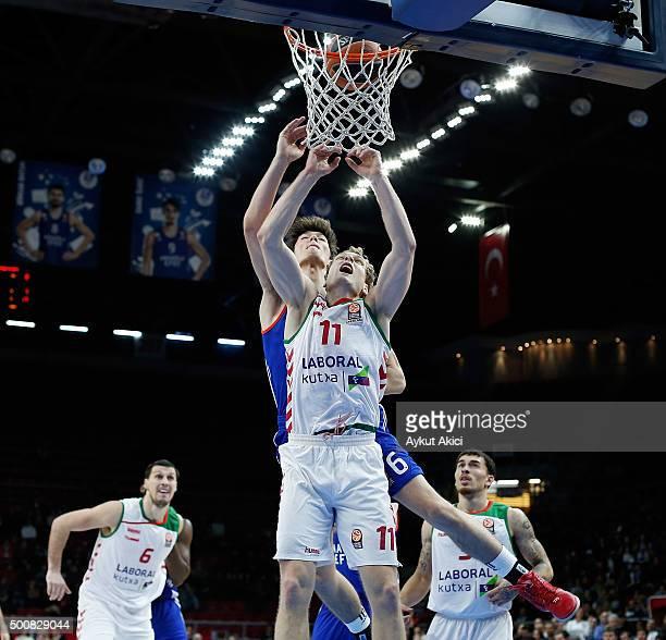 Jaka Blazic #11 of Laboral Kutxa Vitoria Gasteiz in action during the Turkish Airlines Euroleague Basketball Regular Season Round 9 game between...