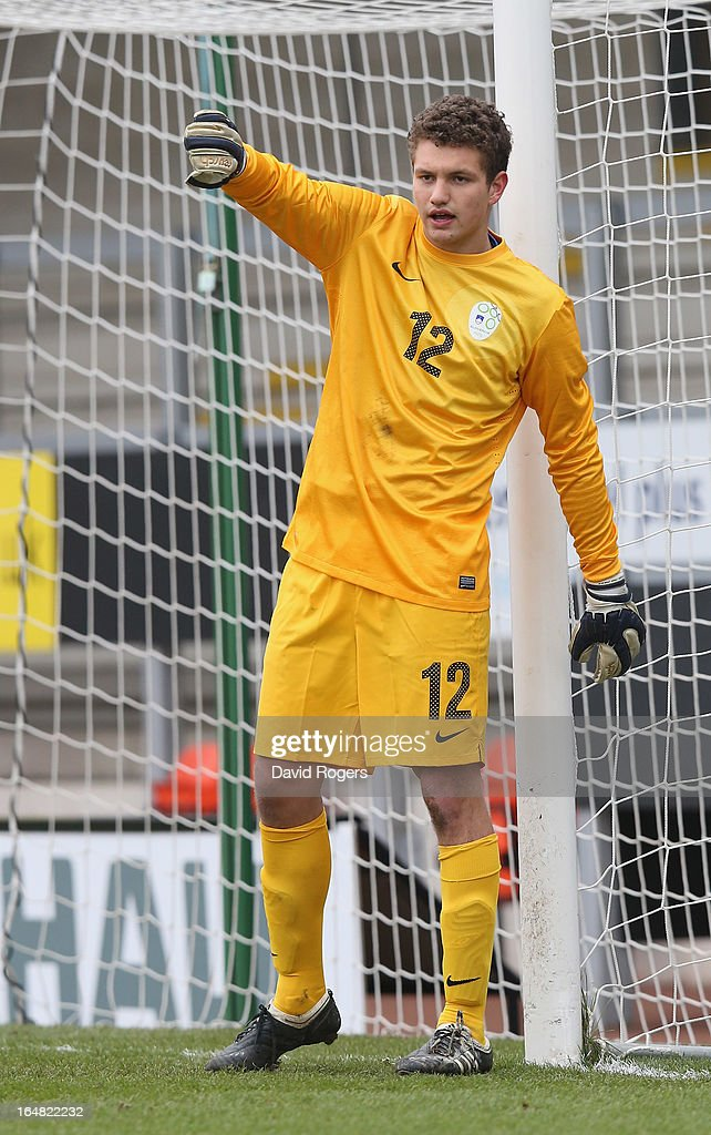 Jaka Dabanovic of Slovenia shouts instructions during the UEFA European Under 17 Championship match between England and Slovenia at Pirelli Stadium on March 28, 2013 in Burton-upon-Trent, England.