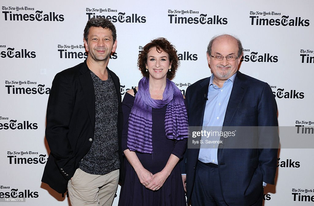 Jakab Orsos, Patricia Cohen and <a gi-track='captionPersonalityLinkClicked' href=/galleries/search?phrase=Salman+Rushdie&family=editorial&specificpeople=203293 ng-click='$event.stopPropagation()'>Salman Rushdie</a> attend TimeTalks Presents: Freedom and Moral Courage <a gi-track='captionPersonalityLinkClicked' href=/galleries/search?phrase=Salman+Rushdie&family=editorial&specificpeople=203293 ng-click='$event.stopPropagation()'>Salman Rushdie</a> and Ai Wei Wei at Times Center on May 3, 2013 in New York City.