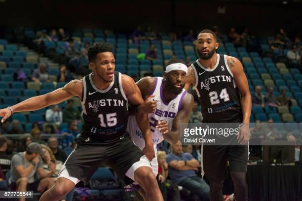 JaKarr Sampson of the Reno Bighorns fights for a rebound against Jason Blossomgame and Darrun Hilliard of the Austin Spurs during an NBA GLeague game...