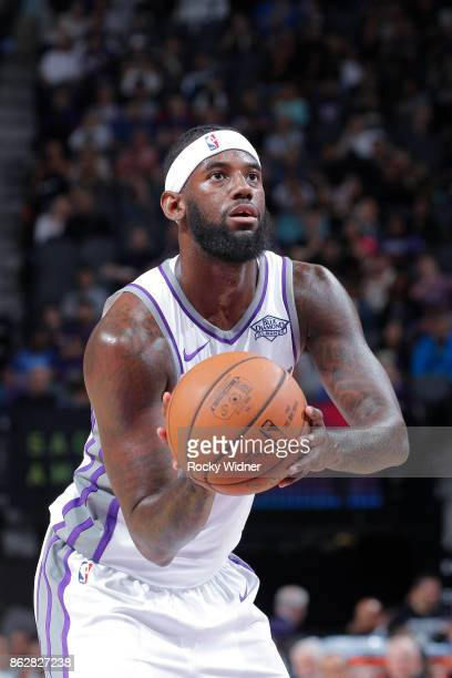 JaKarr Sampson of the Sacramento Kings attempts a freethrow shot against the San Antonio Spurs on October 2 2017 at Golden 1 Center in Sacramento...