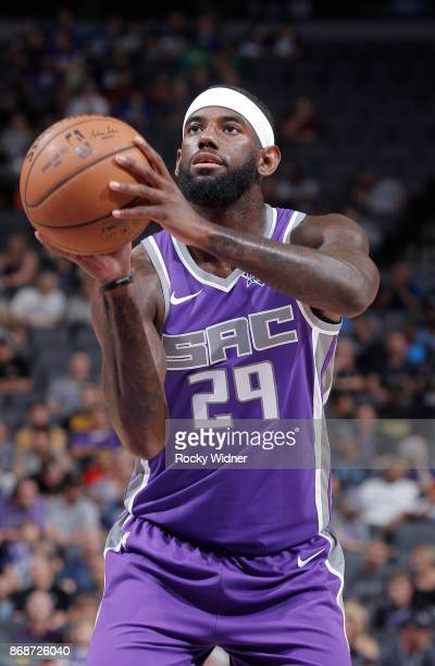 JaKarr Sampson of the Sacramento Kings attempts a freethrow shot against the Washington Wizards on October 29 2017 at Golden 1 Center in Sacramento...