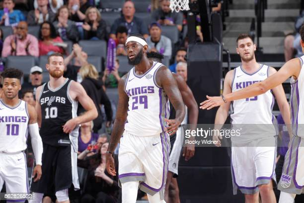 JaKarr Sampson of the Sacramento Kings celebrates during the game against the San Antonio Spurs on October 2 2017 at Golden 1 Center in Sacramento...