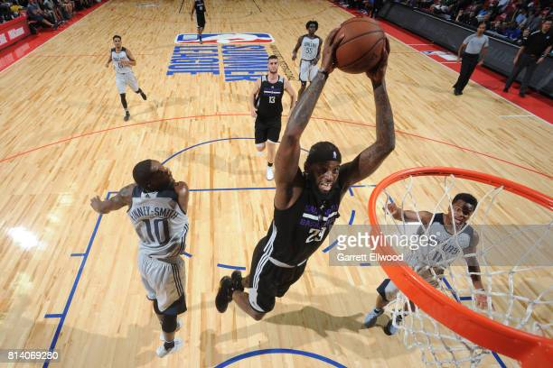 JaKarr Sampson of the Sacramento Kings goes up for a dunk against the Dallas Mavericks on July 13 2017 at the Thomas Mack Center in Las Vegas Nevada...