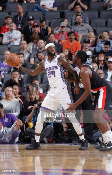 JaKarr Sampson of the Sacramento Kings handles the ball against the Portland Trail Blazers on October 9 2017 at Golden 1 Center in Sacramento...
