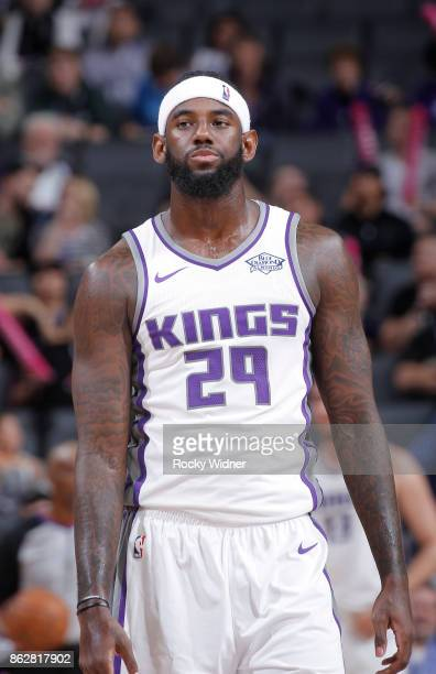 JaKarr Sampson of the Sacramento Kings looks on during the game against the Portland Trail Blazers on October 9 2017 at Golden 1 Center in Sacramento...