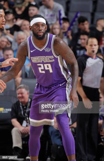 JaKarr Sampson of the Sacramento Kings looks on during the game against the Washington Wizards on October 29 2017 at Golden 1 Center in Sacramento...