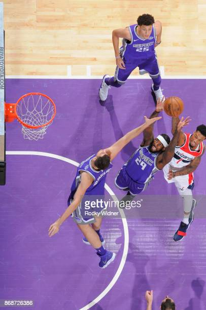 JaKarr Sampson of the Sacramento Kings rebounds against Chris McCullough of the Washington Wizards on October 29 2017 at Golden 1 Center in...