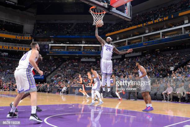 JaKarr Sampson of the Sacramento Kings rebounds against the Portland Trail Blazers on October 9 2017 at Golden 1 Center in Sacramento California NOTE...