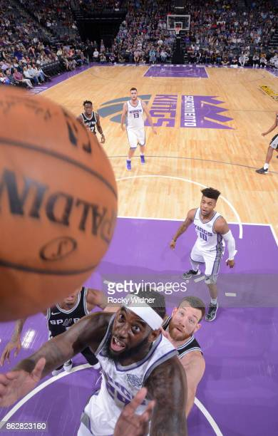 JaKarr Sampson of the Sacramento Kings rebounds against the San Antonio Spurs on October 2 2017 at Golden 1 Center in Sacramento California NOTE TO...