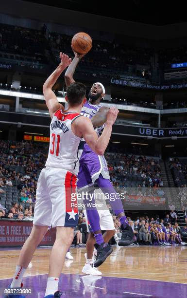JaKarr Sampson of the Sacramento Kings shoots against the Washington Wizards on October 29 2017 at Golden 1 Center in Sacramento California NOTE TO...