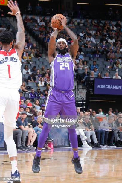 JaKarr Sampson of the Sacramento Kings shoots the ball against the Washington Wizards on October 29 2017 at Golden 1 Center in Sacramento California...