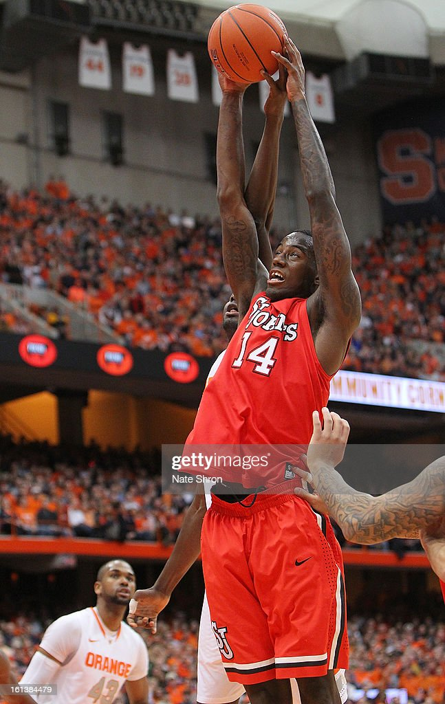 Jakarr Sampson #14 of the St. John's Red Storm shoots the ball during the game against the Syracuse Orange at the Carrier Dome on February 10, 2013 in Syracuse, New York.