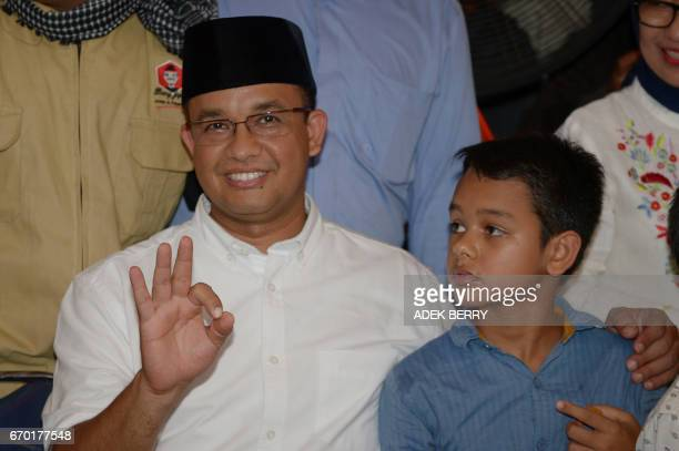 Jakarta governorelect Anis Baswedan gestures during a press conference in Jakarta on April 19 2017 Jakarta's Christian governor on April 19 lost...