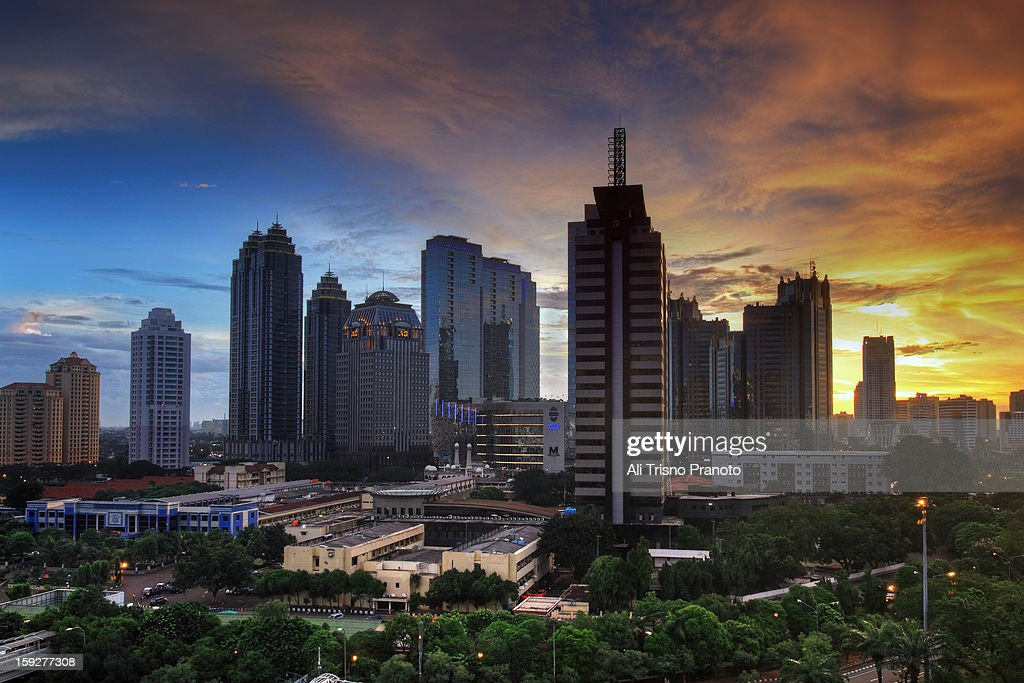 Jakarta in December : Stock Photo