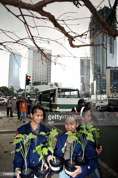 Students distribute free plants at an intersection in Jakarta 05 June 2007 to mark the World Environment Day Indonesia is particularly vulnerable to...