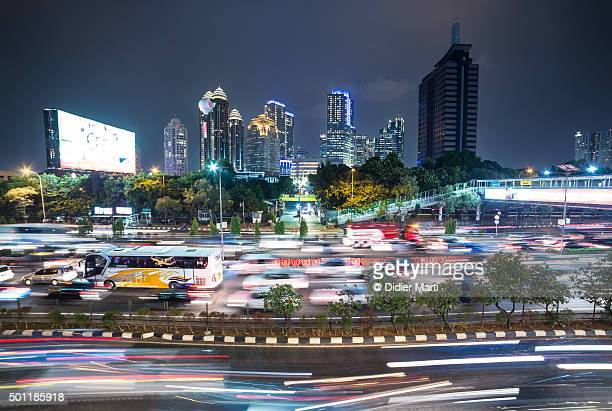 Jakarta night rush in business district