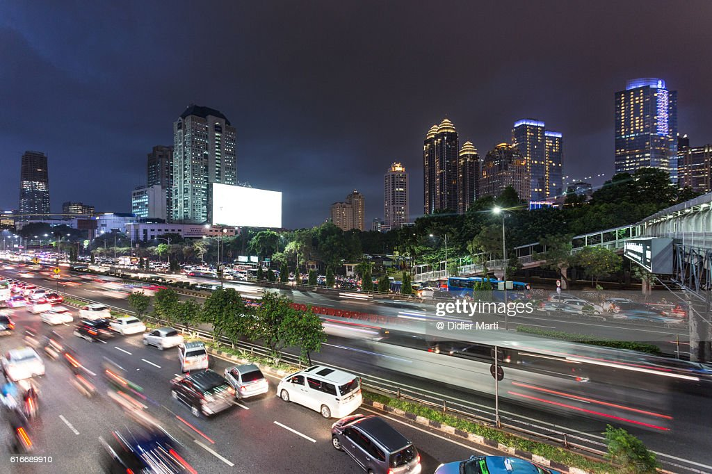 Jakarta night rush : Stock Photo