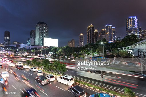 Jakarta night rush : Stock Photo