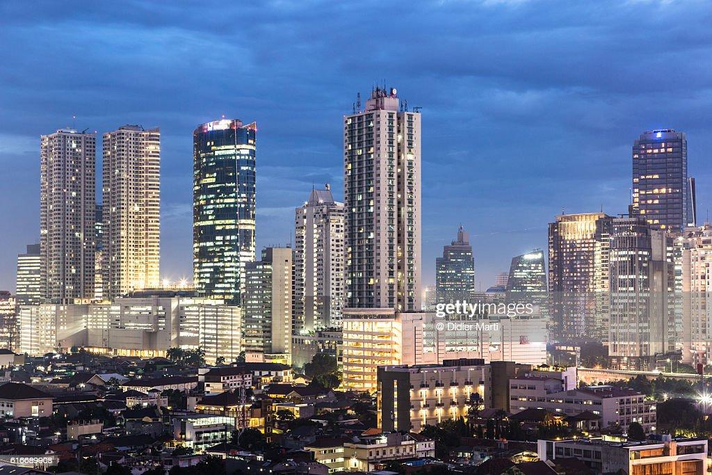 Jakarta skyline at night : Stock Photo
